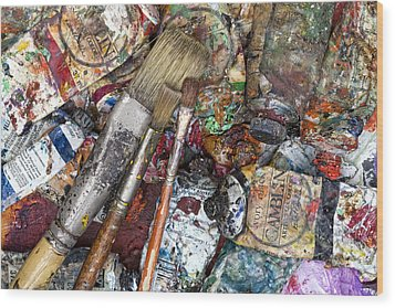 Art Is Messy 5 Wood Print by Carol Leigh