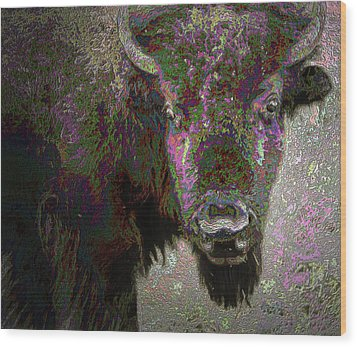 Wood Print featuring the mixed media Art Neuvo Bison by Irma BACKELANT GALLERIES