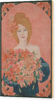 Art Nouveau Lilies Wood Print