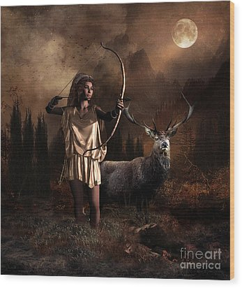 Wood Print featuring the digital art Artemis Goddess Of The Hunt by Shanina Conway