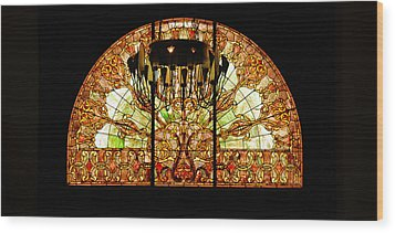 Artful Stained Glass Window Union Station Hotel Nashville Wood Print by Susanne Van Hulst