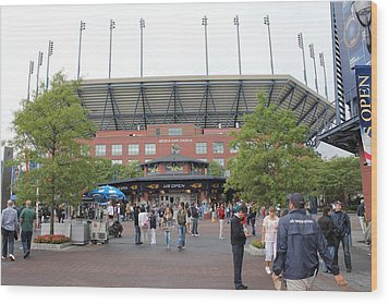 Arthur Ashe Stadium Wood Print by David Grant