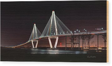 Wood Print featuring the photograph Arthur Ravenel Jr. Bridge At Midnight by George Randy Bass