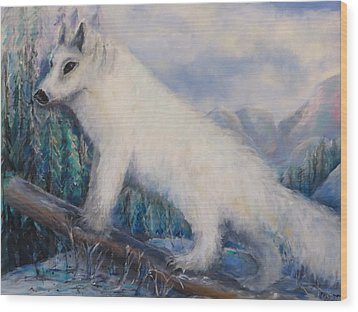 Artic Fox Wood Print by Bernadette Krupa