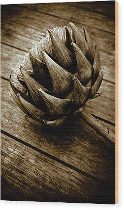 Wood Print featuring the photograph Artichoke Flower Still Life by Frank Tschakert