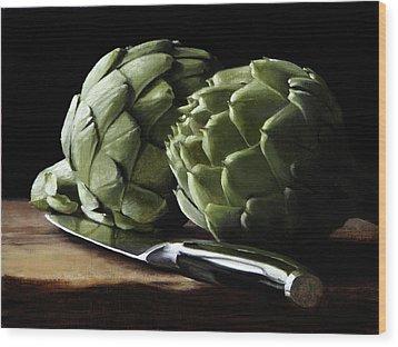 Artichokes And Knife Wood Print by Michael Lynn Adams