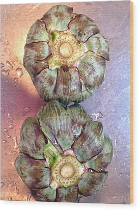 Wood Print featuring the photograph Artichokes In The Sink by Olivier Calas
