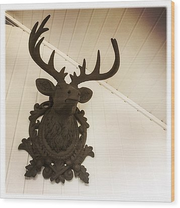 Artificial Deer Antlers Wood Print