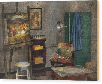 Artist - Painter - The Artists Studio Wood Print by Mike Savad