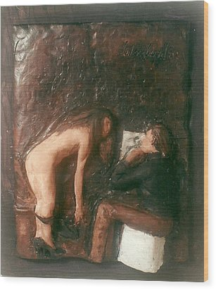 Artist And Nude Model Wood Print by Harry  Weisburd