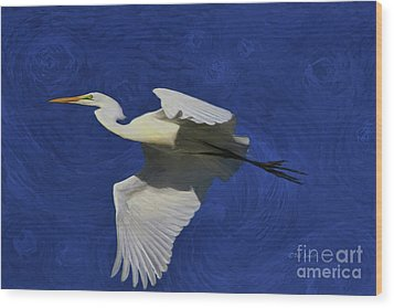 Wood Print featuring the painting Artistic Egret by Deborah Benoit