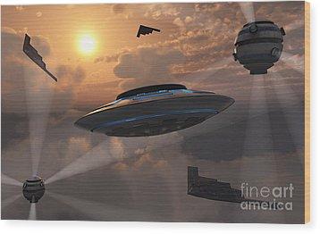 Artists Concept Of Alien Stealth Wood Print by Mark Stevenson