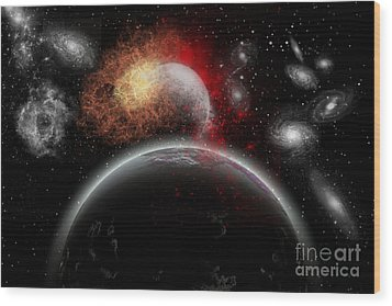 Artists Concept Of Cosmic Contrast Wood Print by Mark Stevenson