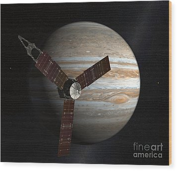 Artists Concept Of The Juno Spacecraft Wood Print by Stocktrek Images