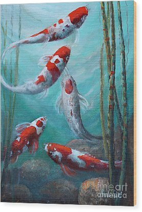 Artist's Pond Fish Wood Print by Gail Salitui