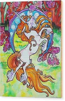 Wood Print featuring the painting Artsy Nouveau Unicorn by Jenn Cunningham