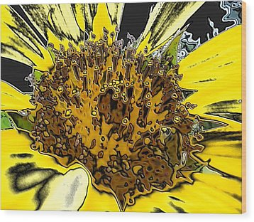 Artsy Sunflower Wood Print by Sonya Chalmers