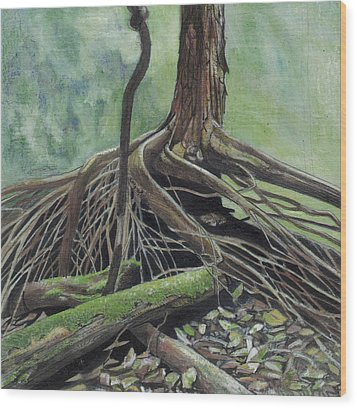 Arvore Wood Print by Nelson Caramico
