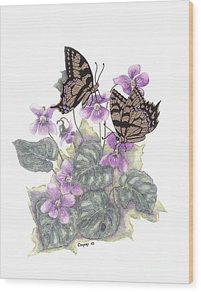 Wood Print featuring the painting As Close To The Flowers by Stanza Widen
