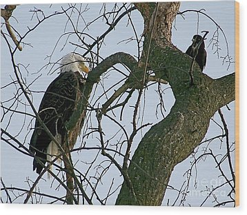 As The Eagle Looks On Wood Print by Sue Stefanowicz