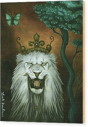 As The Lion Laughs Wood Print by Leah Saulnier The Painting Maniac