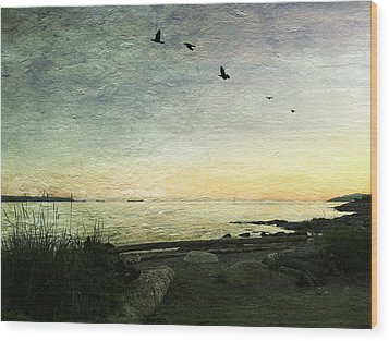 Wood Print featuring the photograph As The Sky Darkens  by Connie Handscomb