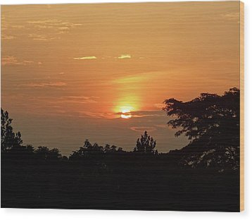 As The Sun Sets ... Orange Wood Print