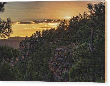 Wood Print featuring the photograph As The Sun Sets On The Rim  by Saija Lehtonen