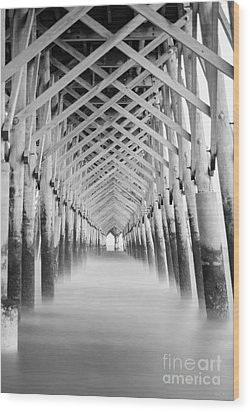 As The Water Fades Grayscale Wood Print by Jennifer White