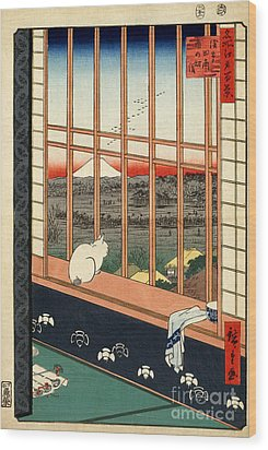Asakusa Rice Field Wood Print by Pg Reproductions