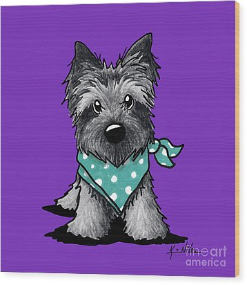Ash Cairn Terrier In Dots Wood Print