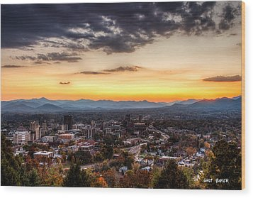 Asheville From Above Wood Print