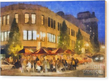 Asheville Nightlife Wood Print by Elizabeth Coats