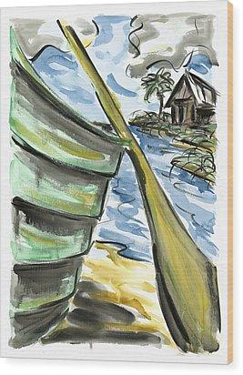 Wood Print featuring the painting Ashore by Robert Joyner