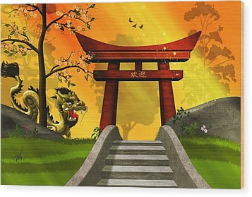 Asian Art Chinese Dragon  Wood Print