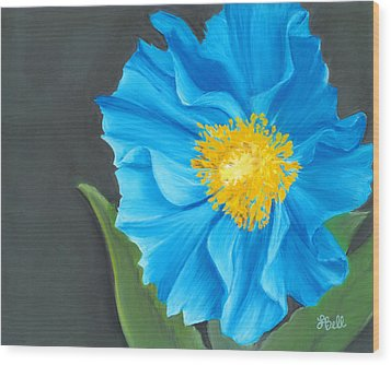 Wood Print featuring the painting Asian Blue by Laura Bell