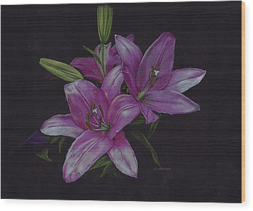 Asian Lillies Wood Print