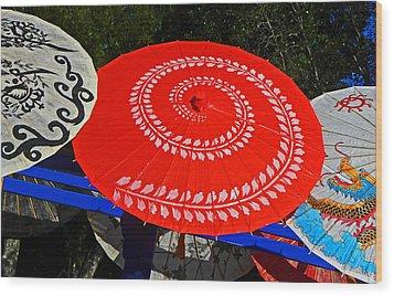 Asian Parasols Wood Print