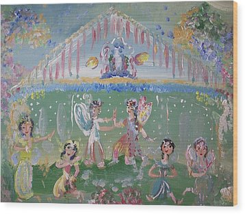 Asian Party Fairies Wood Print by Judith Desrosiers