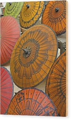 Asian Umbrellas Wood Print by Michele Burgess