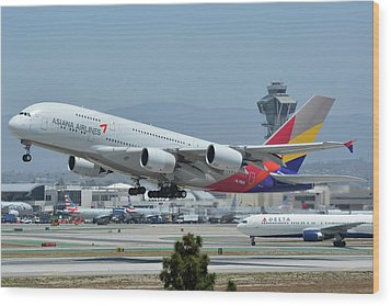 Wood Print featuring the photograph Asiana Airbus A380-800 Hl7626 Los Angeles International Airport May 3 2016 by Brian Lockett