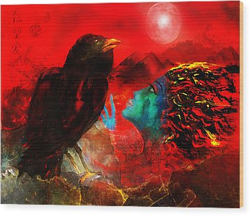 Ask The Raven II Wood Print by Patricia Motley