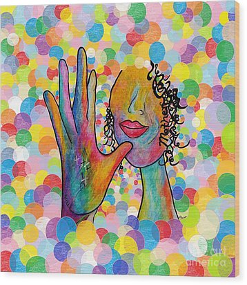 Asl Mother On A Bright Bubble Background Wood Print by Eloise Schneider