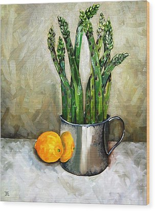 Asparagus In A Sterling Cup Wood Print by Amy Higgins