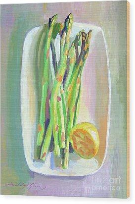 Asparagus Plate Wood Print by David Lloyd Glover