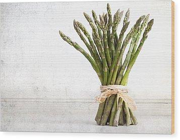 Asparagus Vintage Wood Print by Jane Rix