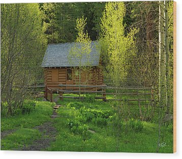 Wood Print featuring the photograph Aspen Cabin by Leland D Howard