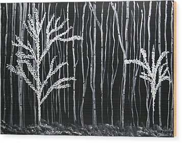 Aspen Forest Wood Print by Dolores  Deal