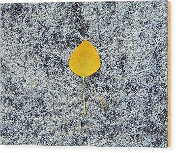 Aspen Leaf On Stone Wood Print