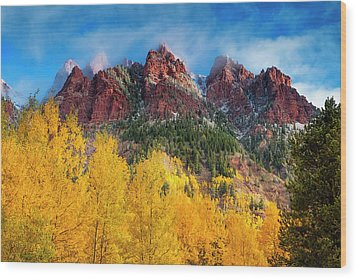 Wood Print featuring the photograph Aspen Morning by Andrew Soundarajan